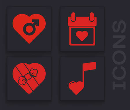 Set Music note, tone with hearts, Heart with male gender, Calendar with heart and Candy in heart shaped box icon. Vector