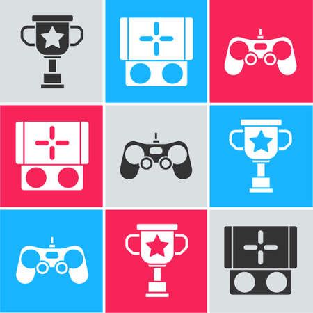 Set Award cup, Portable video game console and Gamepad icon. Vector