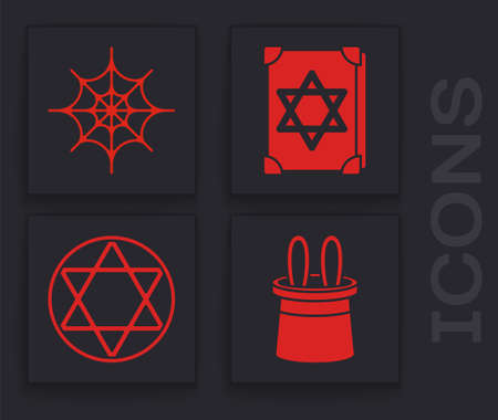 Set Magician hat and rabbit ears, Spider web, Ancient magic book and Star of David icon. Vector