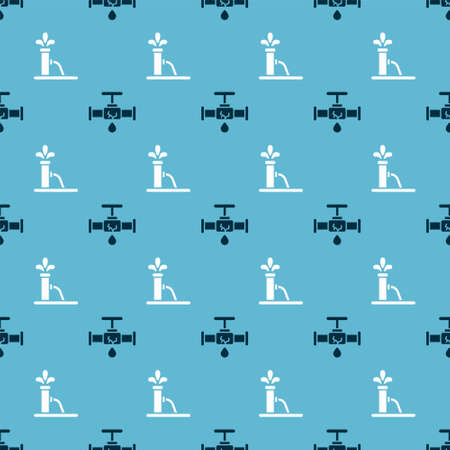 Set Broken pipe with leaking water and Oil pump or pump jack on seamless pattern. Vector