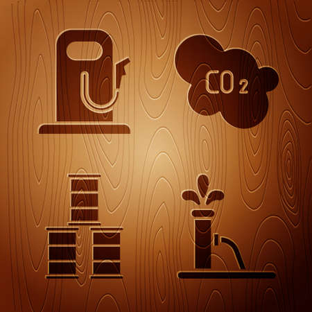 Set Oil pump or pump jack, Petrol or gas station, Barrel oil and CO2 emissions in cloud on wooden background. Vector 矢量图像