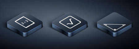 Set Isometric Tablet with calculator, Triangle math and Square root icon. Vector