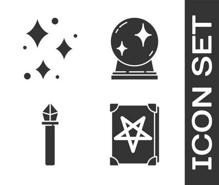 Set Ancient magic book, Sparkle stars with magical glitter, Magic staff and Magic ball icon. Vector