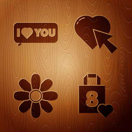 Set Shopping bag with heart, Speech bubble with I love you, Flower and Heart and cursor click on wooden background. Vector Çizim