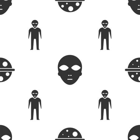 Set Planet Saturn, Alien and Alien on seamless pattern. Vector