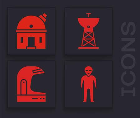 Set Alien, Astronomical observatory, Satellite dish and Astronaut helmet icon. Vector Vektoros illusztráció
