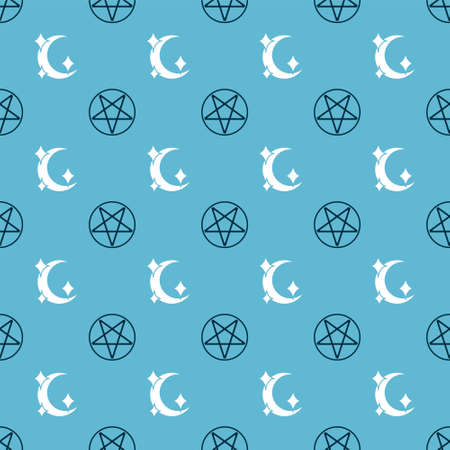 Set Pentagram in a circle and Moon and stars on seamless pattern. Vector  イラスト・ベクター素材