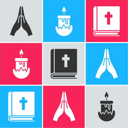 Set Hands in praying position, Burning candle and Holy bible book icon. Vector