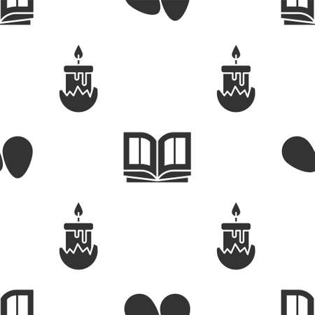 Set Easter eggs, Holy bible book and Burning candle on seamless pattern. Vector