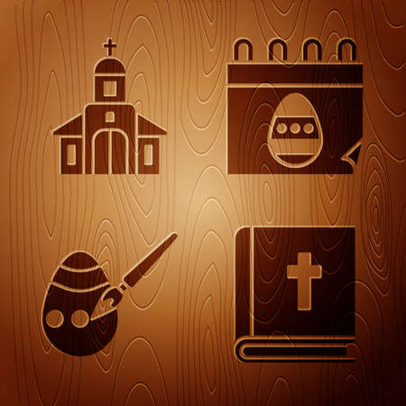 Set Holy bible book, Church building, Easter egg and paint brush and Calendar with Easter egg on wooden background. Vector
