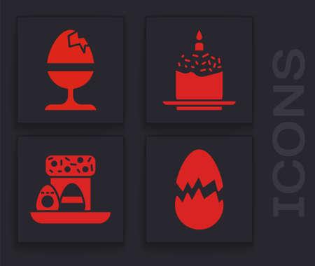 Set Broken egg, Chicken egg on a stand, Easter cake and candle and Easter cake and eggs icon. Vector