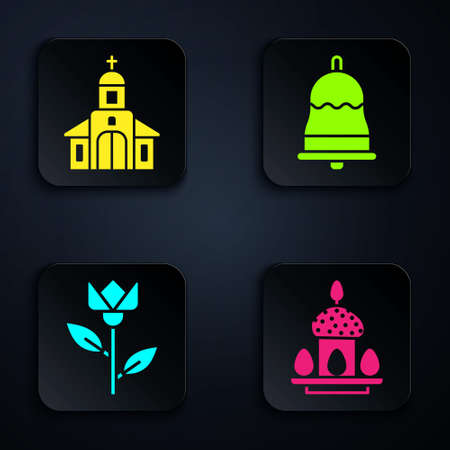 Set Easter cake and eggs, Church building, Flower tulip and Ringing bell. Black square button. Vector