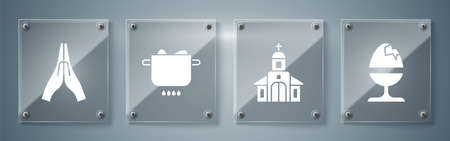 Set Chicken egg on a stand, Church building, Egg in hot pot and Hands in praying position. Square glass panels. Vector
