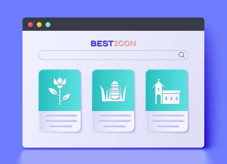 Set Easter egg, Flower tulip and Church building icon. Vector