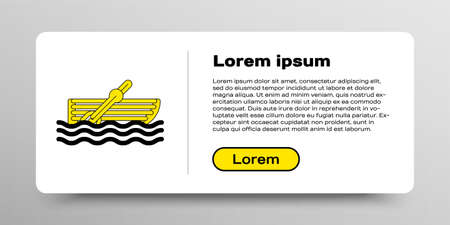 Line Fishing boat with oars on water icon isolated on white background. Colorful outline concept. Vector