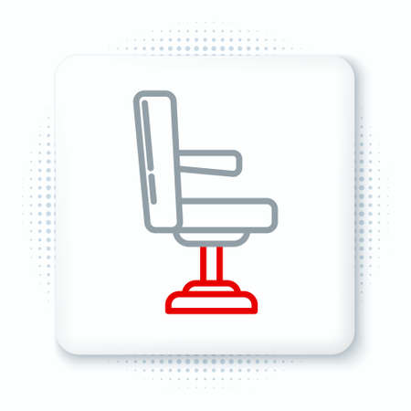 Line Barbershop chair icon isolated on white background. Barber armchair sign. Colorful outline concept. Vector