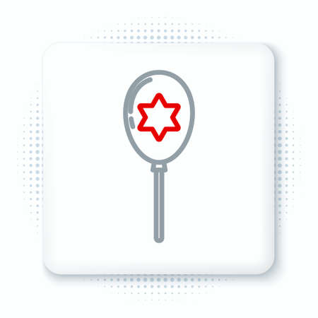 Line Balloons with ribbon with star of david icon isolated on white background. Balloon with israel flag. Colorful outline concept. Vector