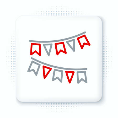 Line Carnival garland with flags icon isolated on white background. Party pennants for birthday celebration, festival and fair decoration. Colorful outline concept. Vector