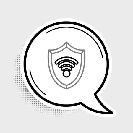 Line Shield with WiFi wireless internet network symbol icon isolated on grey background. Protection safety concept. Colorful outline concept. Vector