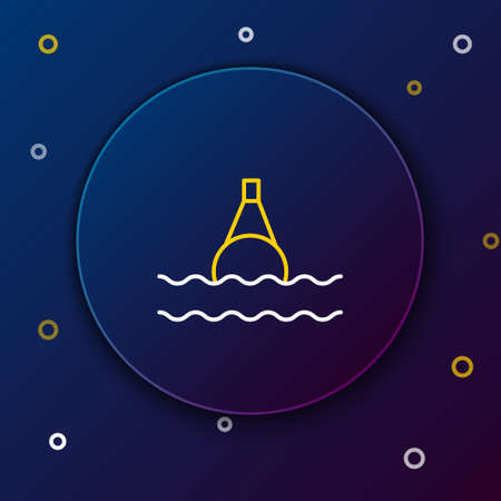 Line Floating buoy on the sea icon isolated on blue background. Colorful outline concept. Vector