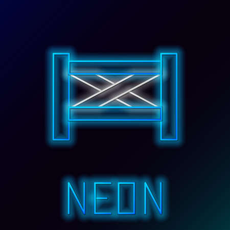 Glowing neon line Garden fence wooden icon isolated on black background. Colorful outline concept. Vector