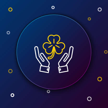 Line Human hands holding four leaf clover icon isolated on blue background. Happy Saint Patrick day. Colorful outline concept. Vector