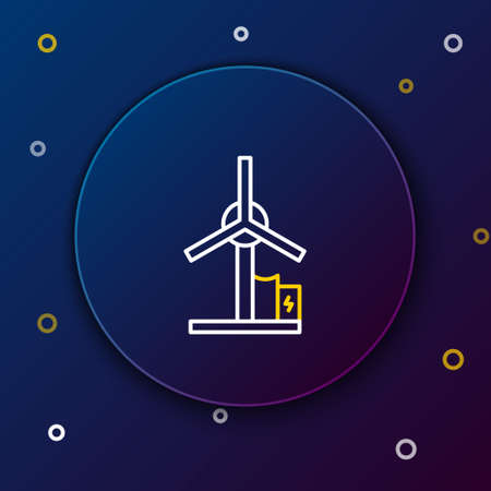 Line Wind turbine icon isolated on blue background. Wind generator sign. Windmill for electric power production. Colorful outline concept. Vector Vettoriali