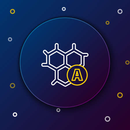 Line Chemical formula icon isolated on blue background. Abstract hexagon for innovation medicine, health, research and science. Colorful outline concept. Vector Illusztráció