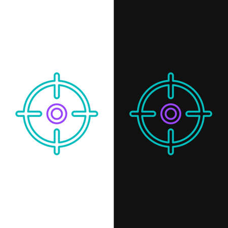 Line Target sport icon isolated on white and black background. Clean target with numbers for shooting range or shooting. Colorful outline concept. Vector