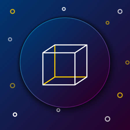 Line Geometric figure Cube icon isolated on blue background. Abstract shape. Geometric ornament. Colorful outline concept. Vector