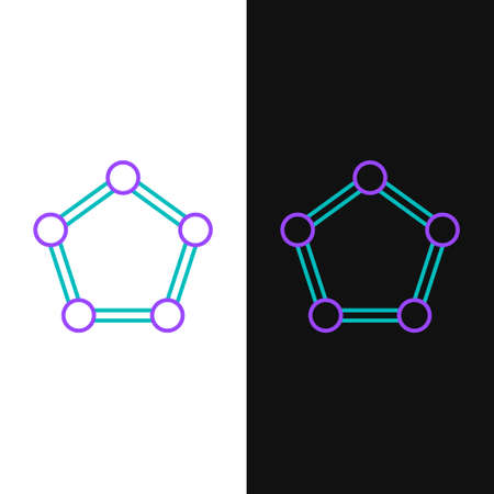 Line Geometric figure Pentagonal prism icon isolated on white and black background. Abstract shape. Geometric ornament. Colorful outline concept. Vector