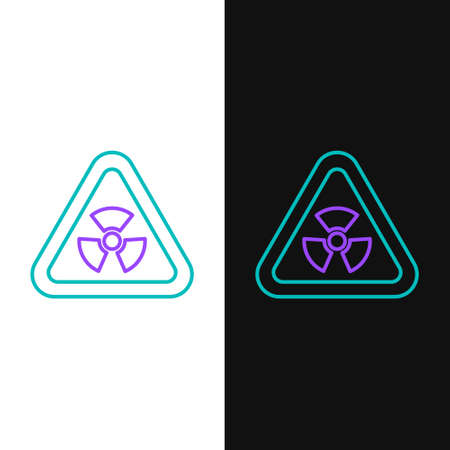 Line Triangle sign with radiation symbol icon isolated on white and black background. Colorful outline concept. Vector