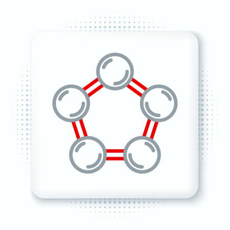 Line Molecule icon isolated on white background. Structure of molecules in chemistry, science teachers innovative educational poster. Colorful outline concept. Vector Stock Illustratie