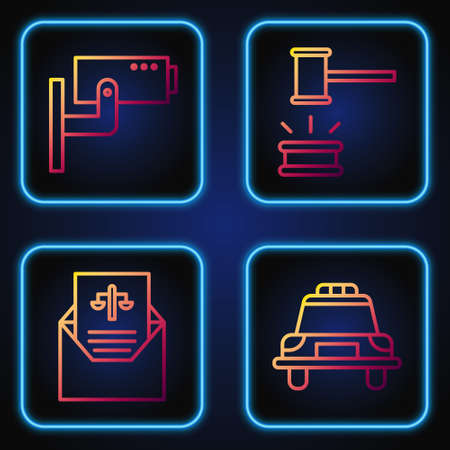 Set line Police car and flasher, Subpoena, Security camera and Judge gavel. Gradient color icons. Vector