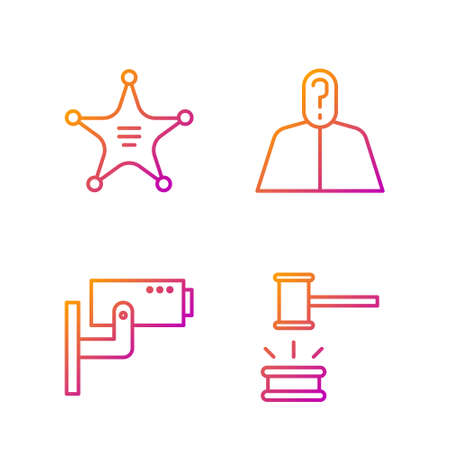 Set line Judge gavel, Security camera, Hexagram sheriff and Anonymous with question mark. Gradient color icons. Vector