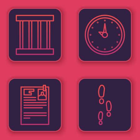 Set line Prison window, Lawsuit paper, Clock and Footsteps. Blue square button. Vector