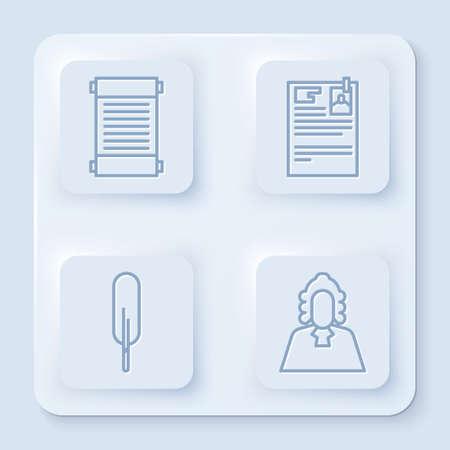 Set line Decree, paper, parchment, scroll, Lawsuit paper, Feather pen and Judge. White square button. Vector