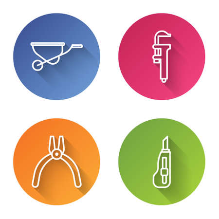 Set line Wheelbarrow, Calliper or caliper and scale, Pliers tool and Stationery knife. Color circle button. Vector