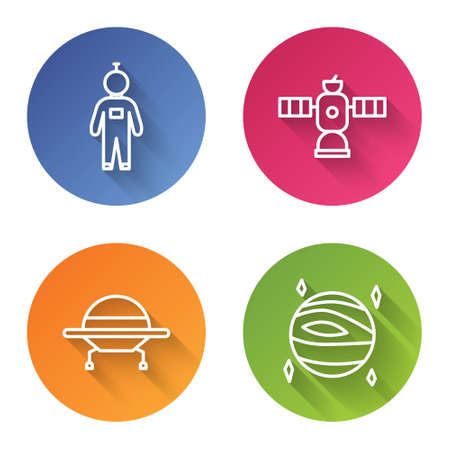 Set line Astronaut, Satellite, UFO flying spaceship and Planet Venus. Color circle button. Vector