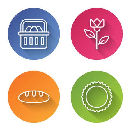 Set line Basket with easter eggs, Flower tulip, Bread loaf and Sun. Color circle button. Vector Illusztráció