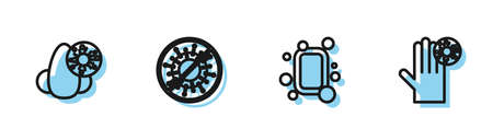 Set line Bar of soap, Runny nose and virus, Stop and Hand with icon. Vector