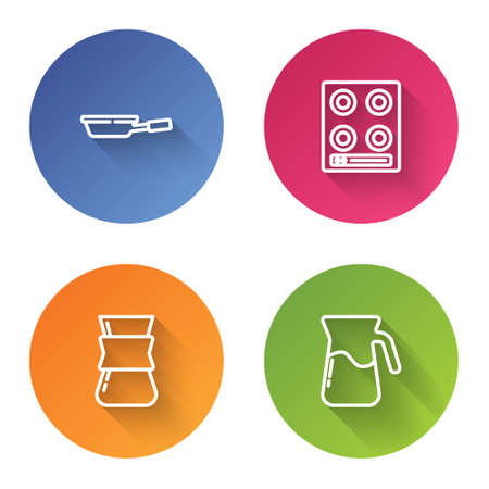 Set line Frying pan, Gas stove, Coffee turk and Jug glass with water. Color circle button. Vector 일러스트