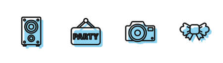 Set line Photo camera, Stereo speaker, Signboard party and Bow tie icon. Vector