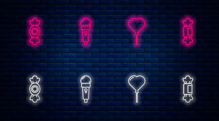 Set line Microphone, Balloon in form of heart, Candy and . Glowing neon icon on brick wall. Vector