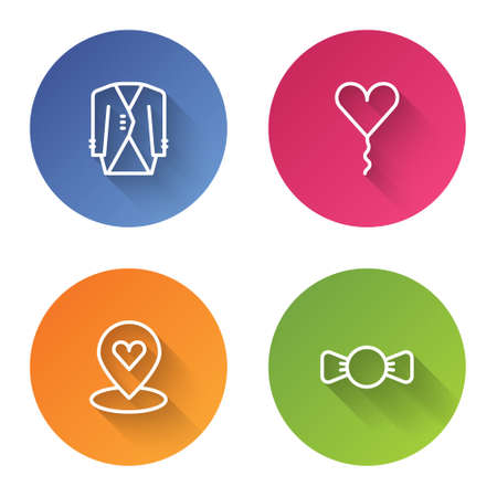 Set line Suit, Balloon in form of heart, Location with and Bow tie. Color circle button. Vector