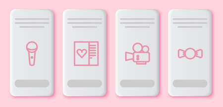 Set line Microphone, Postcard with heart, Cinema camera and Bow tie. White rectangle button. Vector
