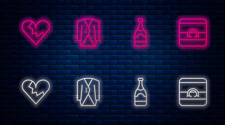 Set line Suit, Champagne bottle, Broken heart or divorce and Wedding rings. Glowing neon icon on brick wall. Vector