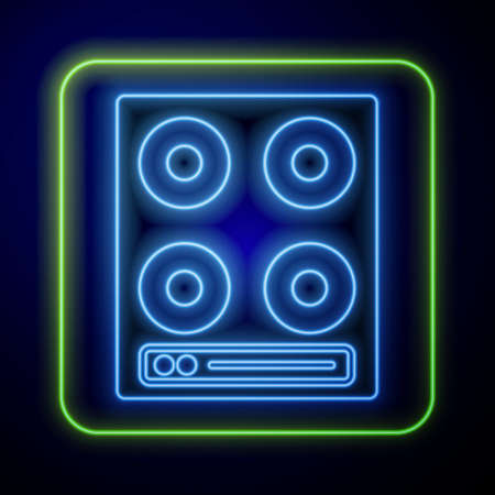 Glowing neon Gas stove icon isolated on blue background. Cooktop sign. Hob with four circle burners. Vector