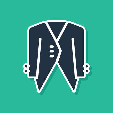 Blue Suit icon isolated on green background. Tuxedo. Wedding suits with necktie. Vector Illusztráció