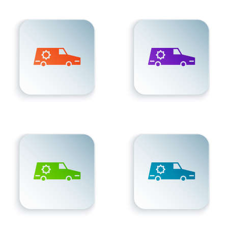 Color Hearse car icon isolated on white background. Set colorful icons in square buttons. Vector